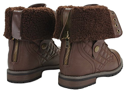 Back lined fur Foldable Zipper Plaid Leather Brown Faux Military Up Cuff Women Lace Quilted Combat Boots 8FU4qwqZR