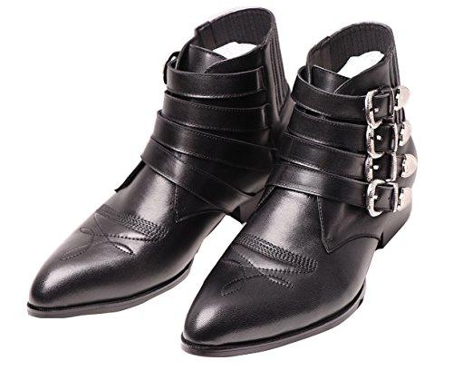 Jinfu Hommes Boucles De Broderie En Cuir Bout Pointu Glissière De Combat Bottes De Cheville Noir Chaussures Dhiver (us 8)