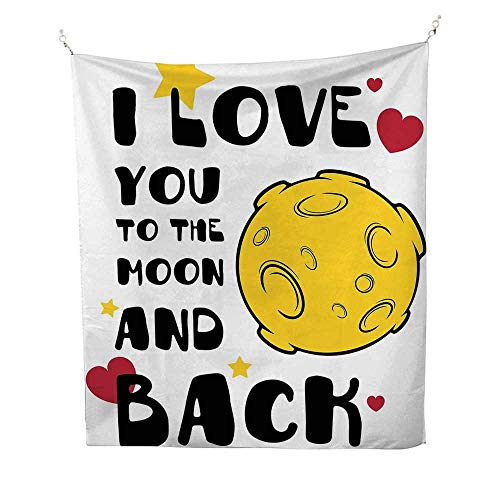 Anshesix I Love You Big Tapestry Moon Surface Romance Big Love Galactic Partners Friends Valentines Print Simple Tapestry 70W x 93L INCHYellow Black Red