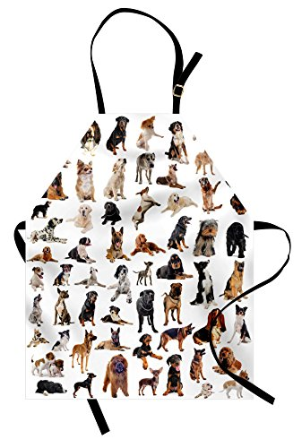 Lunarable Dog Lover Apron, Composite Picture with Dogs Australian Sheepdog Belgian Boxer Italian Mastiff, Unisex Kitchen Bib Apron with Adjustable Neck for Cooking Baking Gardening, (Australian Themed Costumes Ideas)