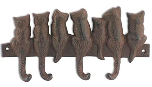 CAPRILO Percha de Pared Decorativa de Metal con 4 Pomos 7 Gatos ...