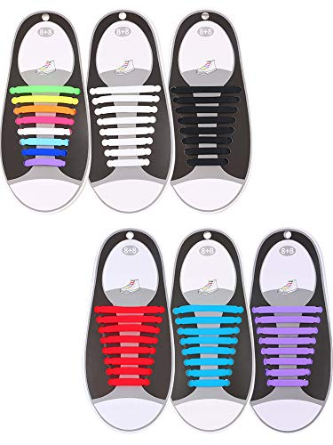 Black Multi Color Footwear - Hestya 6 Pairs No Tie Shoelaces for Kids and Adults, Waterproof Silicone Flat Elastic Athletic Sport Shoe Laces for Sneakers Board Shoes (Multicolor, Black, White, Sky Blue, red, Purple)