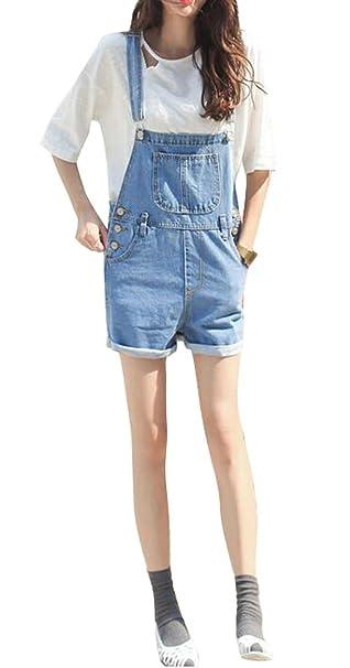 2af89efad33 Amazon.com  MOUTEN-Women Juniors Summer Denim Shorts Jumpsuit Jeans Bid  Overall Shortalls  Clothing