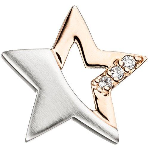 Jobo Niños Juego de joyas estrella plata 925Rosegold dorados circonitas con cadena 38cm