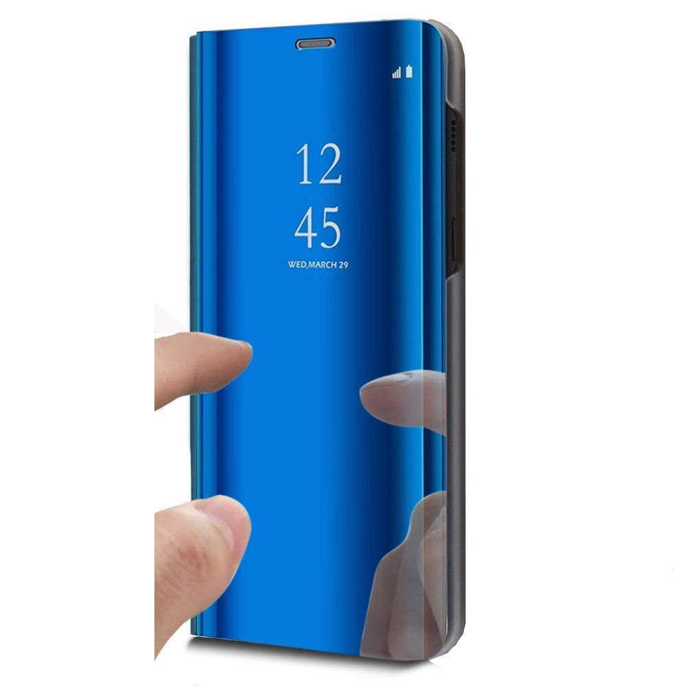 Herbests Compatible with Huawei Mate 20 Pro Case Wallet Mirror Case Clear View Standing Cover Women Luxury Bookstyle Anti-Scratch Shockproof Makeup Glitter Protective Flip Cover,Blue by Herbests