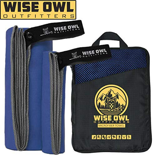 Wise Owl Outfitters Camping Towel - Ultra Soft Compact Quick Dry Microfiber Best Fitness Beach Hiking Yoga Travel Sports Backpacking & The Gym Fast Drying, Free Bonus Washcloth Hand Towel LG RBlue