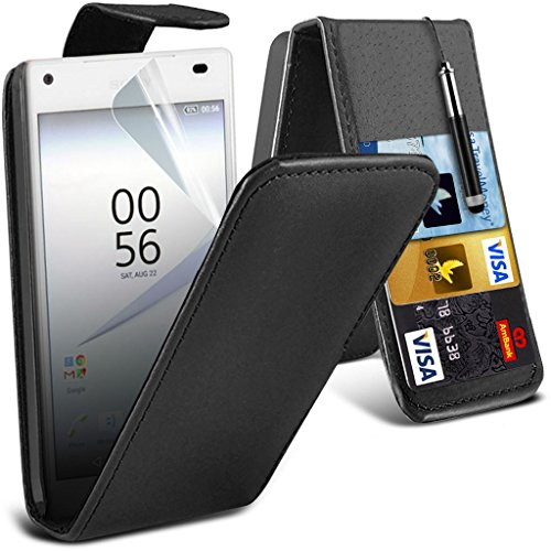 ONX3® ( Black ) Sony Xperia Z5 Premium Case Custom Made PU Leather Flip With Credit / Debit Card Slot Case Skin Cover With LCD Screen Protector Guard, Polishing Cloth - Skins Credit Custom Card