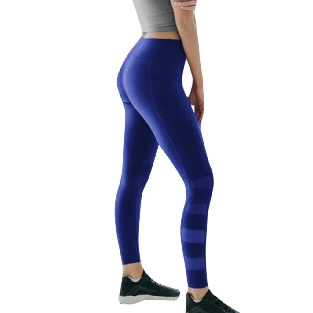 Women Sport Yoga Pants,Jchen Ladies Workout Out Leggings Fitness Sports Gym Yoga Athletic Mesh Pants with Pocket (XL, Blue)