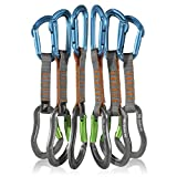 Fusion Climb QDS11-9301-ST-BLU-9307-7BG-AGR 6-Pack 11cm Quickdraw Set with Contigua Blue Straight Gate Carabiner/Techno Zoom Apple Green Bent Gate Carabiner Blue, Green