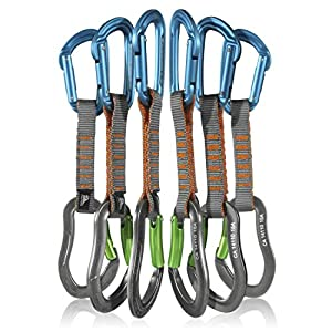 Fusion Climb 6 Pack 11cm Quickdraw Set with Contigua Blue Straight Gate Carabiner/Techno Zoom Apple Green Bent Gate Carabiner