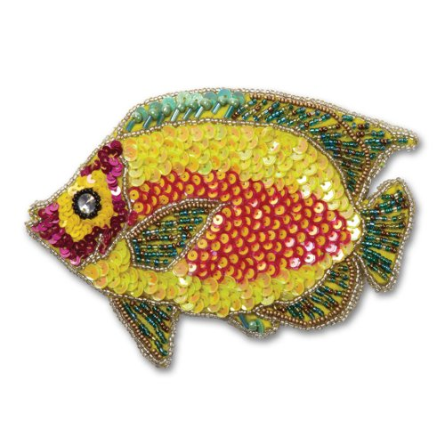 Sequined and Beaded Fish Coin Purse in Yellow