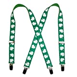 CTM Kids' Elastic St. Patricks Day Shamrock Clip End Suspenders, Green