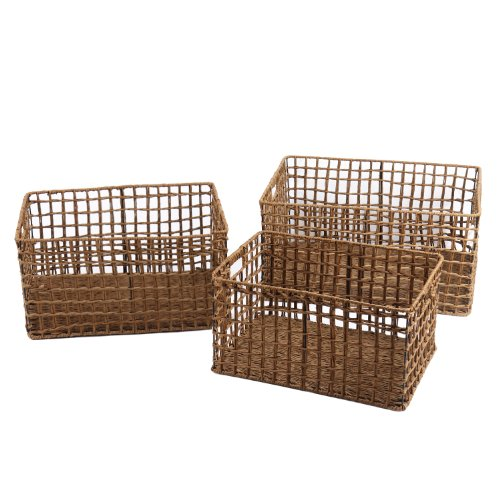 Back-to-school Sale! Adeco Multi-Purpose Milk Crate-Style Woven Baskets, Rectangular, Home Decor, Set of 3