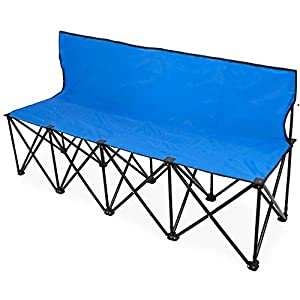 Crown Sporting Goods 6-Foot Portable Folding 4 Seat Bench with Seat Backs & Carry Bag – Great Team Bench for Soccer & Football Sidelines, Tailgating, Camping & Events by Crown Sporting Goods