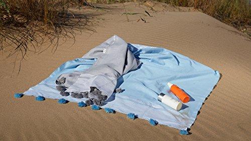 Kuprum Striped Peshtemal Beach Bath Towel, Turkish Cotton Pestemal Fouta Hammam Towel with Tassels Pom Poms Compact Thin Light Absorbent Quick Dry for Travel Spa Sauna Camping Yoga(Light Blue 39''x71'') by Kuprum (Image #5)