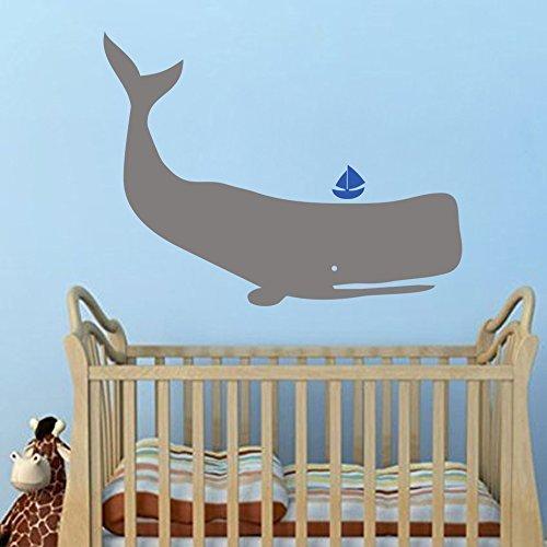 Baby Zoo Whale - Blue boys room - Ocean Kids Wall Art Decal Vinyl Animal Nursery Wall Sticker(24'' x31'', gray+medium blue).