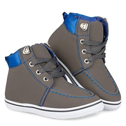 [C9104-GRY-9] Boys High Top Sneakers: Workboot Style Tennis Shoes, Moc Toe, Size 9