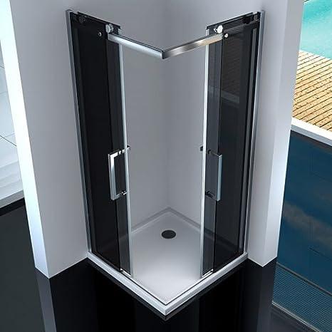 Cabina Box ducha angular puertas correderas cristal transparente EasyClean satonato fume: Amazon.es: Hogar