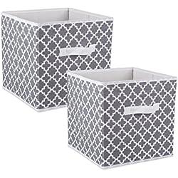 DII Fabric Storage Bins, Lattice Gray - Set of 2