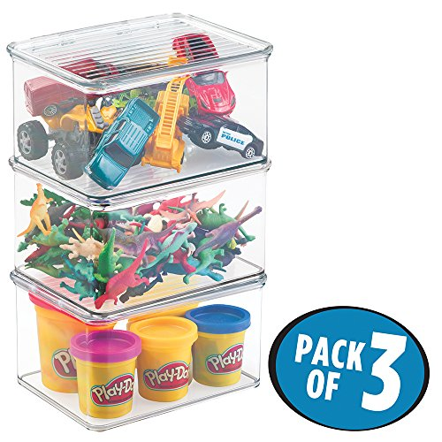 mDesign Kids/Baby Toy Storage Box, for Action Figures, Cars, Crayons, Puzzles - Pack of 3, 6.75