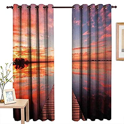 aotuma Customized Curtains Lake House,Long View of The Timber Deck Pier Over Lake with Idyllic Sky at The Dawn,Orange Lavander,Blackout Draperies for Bedroom Living Room