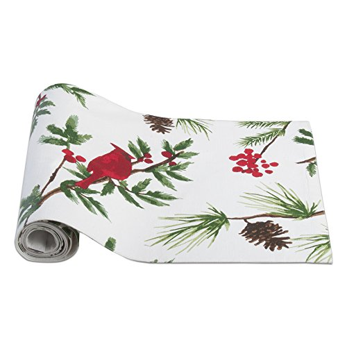 Tag - Cardinal Table Runner, Perfect Addition to Holiday Decorating, Green & White