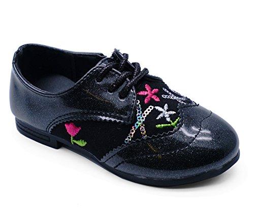 HeelzSoHigh Mädchen Kinder Schwarz Glitzer Cure Strass Party Reißverschluss Schuhe Pumps Größen 8-2