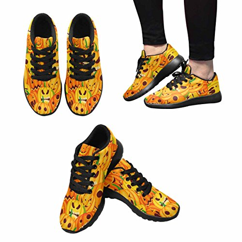 InterestPrint Womens Jogging Running Sneaker Lightweight Go Easy Walking Casual Comfort Running Shoes Halloween Orange Pattern With Jack O Lantern Pumpkins Multi 1 AarnL