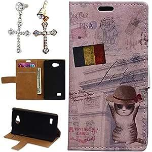 Mobilefashion Funda de PU Cuero Case para LG Joy H220 (Bélgica · Gato K) Con Soporte Plegable y Ranura para tarjeta + 1x Color al azar gratis tapón de polvo