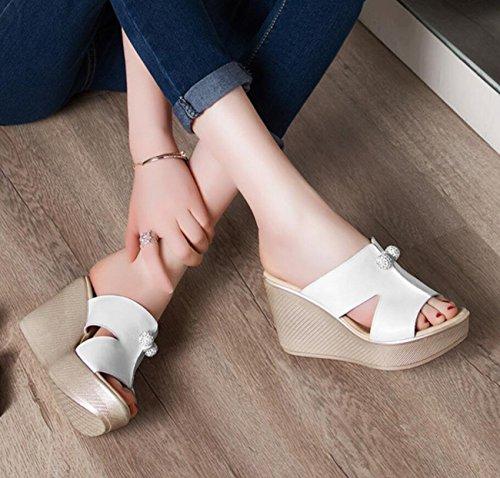 Casual Rojo Blanco Tacón DANDANJIE de Verano caseros para Zapatos Cuero cuña de Negro Sandalias Blanco de Mujer Confort Peep Verde de Toe de Zapatos TnHvwxTrqa