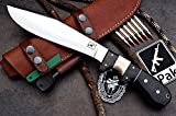 "CFK Cutlery Company IPAK USA - 13"" ELITE TRAIL BOSS - Custom Handmade D2 LARGE Bushcraft Hunting Skinning Camping Chopping Bolo Hunter Knife with Leather Sheath & Fire Starter Rod Set CFK134"
