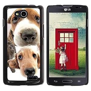 TopCaseStore / la caja del caucho duro de la cubierta de protección de la piel - Golden Retriever Jack Russell Terrier - LG OPTIMUS L90 / D415