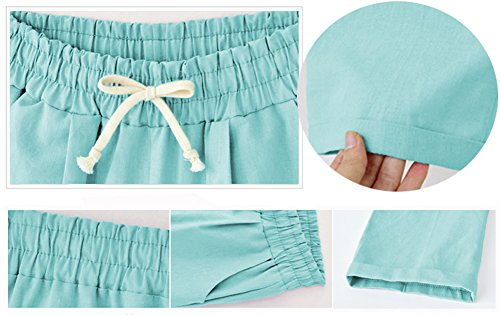 XinDao Women's Elastic Waist Casual Relaxed Fit Capris Pants Cotton Linen Cropped Pants Drawstring Agate Green US XL/Asia 5XL by XinDao (Image #2)