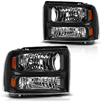 AUTOSAVER88 for 05 06 07 Ford F250 F350 F450 F550 Super Duty/ 05 Ford Excursion Headlight Assembly,OE Projector Headlamp,Black Housing Clear Lens