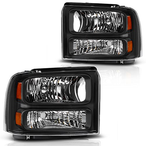 AUTOSAVER88 For 05 06 07 Ford F250 F350 Super Duty Headlight Assembly,OE Projector Headlamp,Black Housing Clear cover,One-Year Limited Warranty(Pair,6C3Z13008BB&6C3Z13008AB)