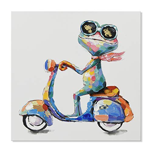 Frog Frame - JAPO ART - 100% Hand Painted Oil Painting Funny Animal with Stretched Frame Wall Art for Living Room Ready to Hang (Hippie Frog Ride Motorcycle, 24 x 24 Inch)
