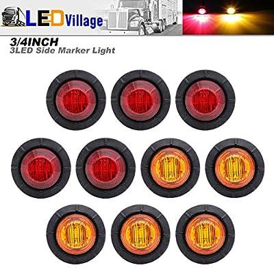 10 Pcs TMH 3/4 Inch Mount 5 pcs Amber & 5 pcs RED LED Clearance Markers Bullet Marker lights, side marker lights, led marker lights, led side marker lights, led trailer marker lights: Automotive
