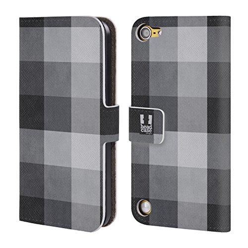 Head Case Designs Nero Grigio Plaid - Pattern Collezione Cover a portafoglio in pelle per iPod Touch 5th Gen / 6th Gen