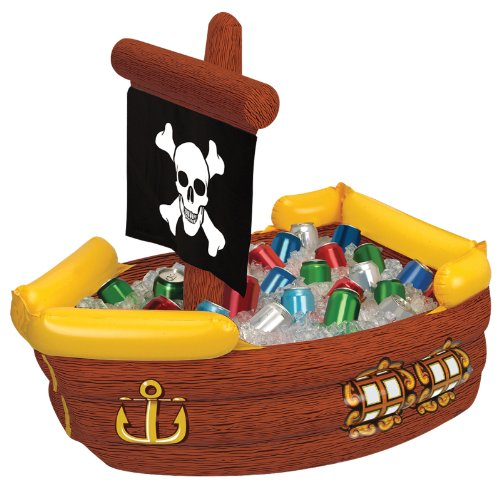 Inflatable Pirate Ship Cooler (holds apprx 72 12-Oz cans) Party Accessory  (1 count) (Caribbean Inflatable)