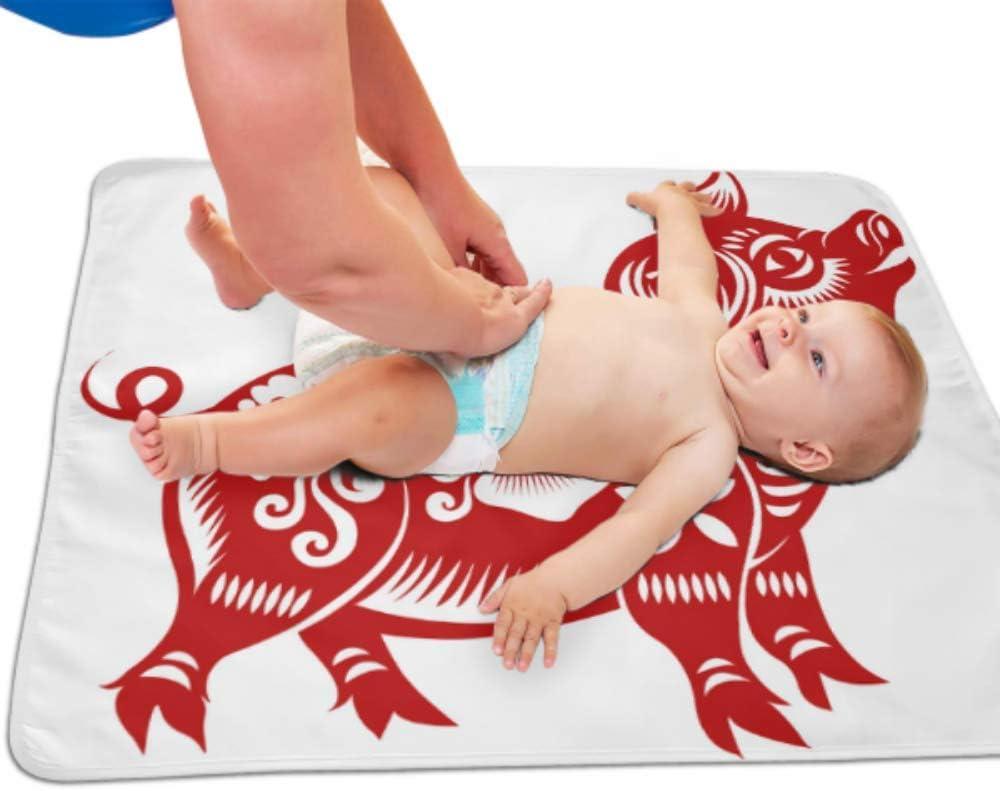 2019 Año Nuevo chino Símbolo Cerdo Cambiador de bebé Almohadilla impermeable Cambiador de pañales Almohadilla para pañales Almohadilla para bebé 25.5x 31.5 pulgadas Alfombra lavable multifunción para
