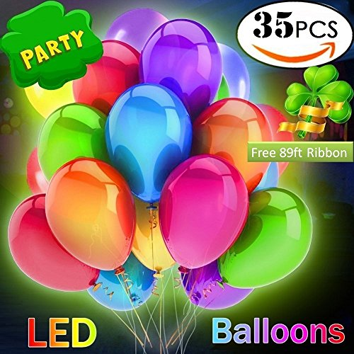 35 Pack LED Light Up Balloons, Mixed-Colors Glowing Balloons with 89Ft Ribbon, Flashing Party Light for Birthday Wedding Christmas Decorations - Fill with Helium, Air Luminous (Glowing Balloon)