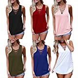 #7: HGWXX7 Women's Summer Solid Sleeveless Lace V Neck Cross Bandage Vest Tank Tops