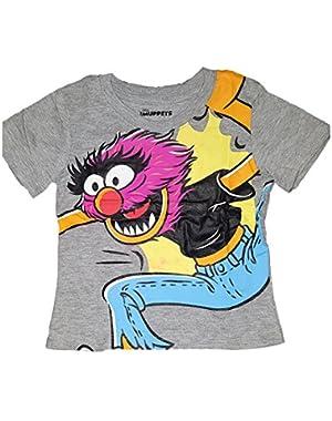 Muppets Baby Animal Jumping Tee Shirt Grey Todllers Tee Shirt