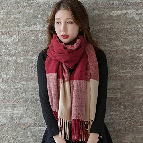 Long Scarf Scarf women's autumn and winter wild winter plaid trend spring and autumn long shawl (Size   B) Fashion Scarf