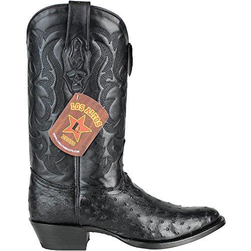 c1e431add53 good Los Altos Men's Round Toe Genuine OSTRICH QUILL Black Western ...
