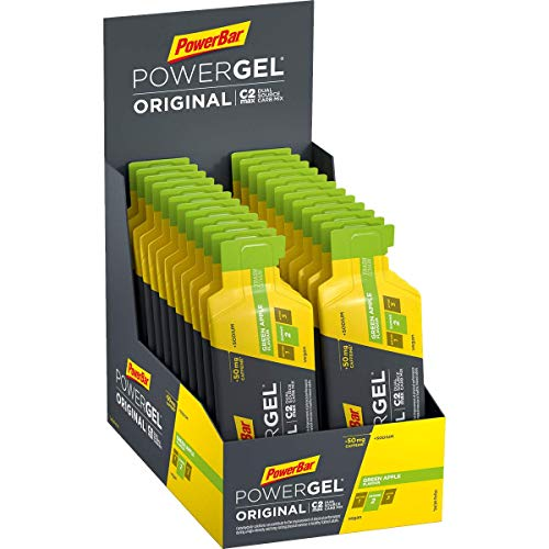PowerBar PowerGel Original Green Apple 24x41g - High Carb Energie Gel + C2MAX Magnesium und Natrium + 50mg Koffein