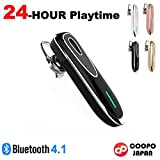 COOPO Bluetooth 4.1 Wireless Headset, 24-hour playtime,Noise Canceling and Hands Free with Mic,Earhook Earbuds Headphone Earphone for iPhone Android and other smartphones CP-K1(Black)