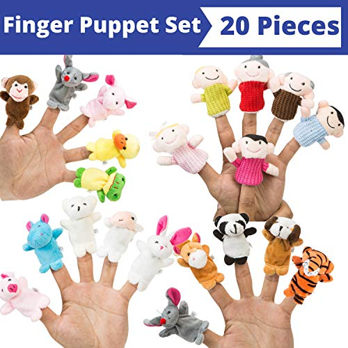 BETTERLINE Finger Puppet Set (20-Piece), 6 Family Member and 14 Animal Finger Puppets Plush Toys - Great for Storytelling, Role-Playing, Teaching, Easter Eggs and Fun ()