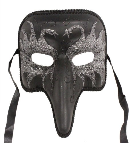 RedSkyTrader Mens Short Nose Glitter Swan Mask One Size Fits Most Multicoloured Black and Silver ()