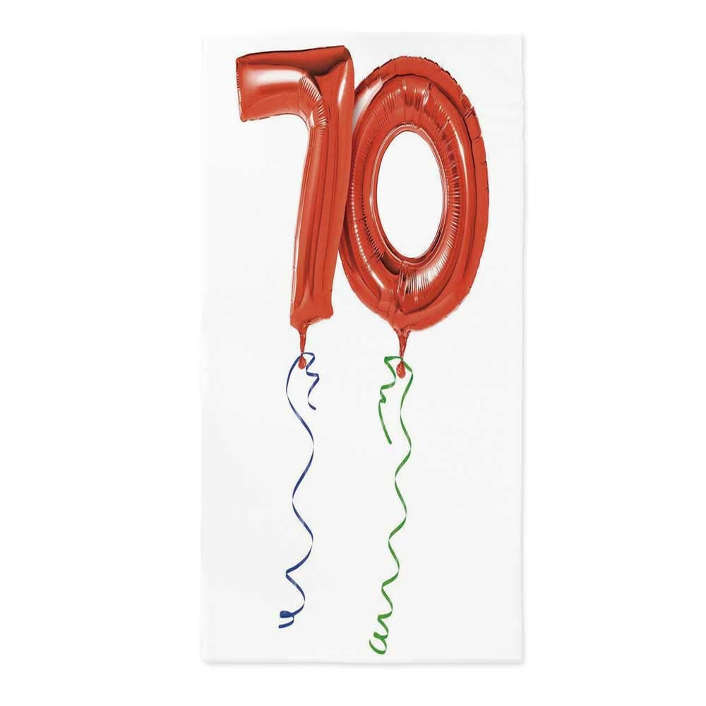 70th Birthday No Fading Tablecloth,Seventy Birthday Crazy Party with Flying Balloons Happy Artistic Print Decorative for Table Outdoor Picnic Holiday Dinner,60''W X 120''L